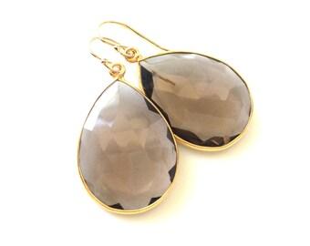 Smoky Quartz Earrings, Brown Gemstone Earrings