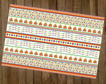 Red, Yellow, Blue and White Circus Themed Paper Placemat   Birthday Party, Carnival Themed Party Supply- Package of 8