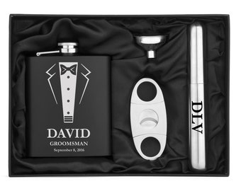 Engraved 7oz Stainless Steel Flask Funnel Cigar Cutter Wedding Tuxedo MATTE BLACK Personalized Custom Groomsman Best Man Groom Wedding Gift