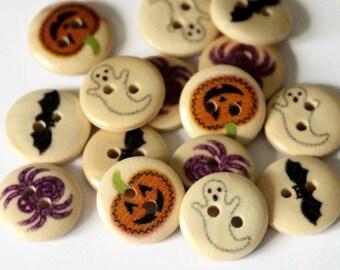 15 Halloween Buttons - 15mm - Ghost Buttons - Bat Buttons - Spider Buttons - Pumpkin Buttons - Round Painted - Novelty Buttons - PW169