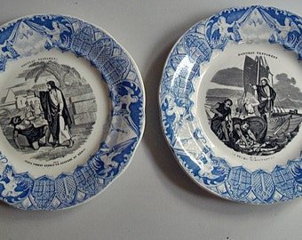 Pair of French antique dessert plates with illustrations of New Testament signed Creil & Montereau circa 1860