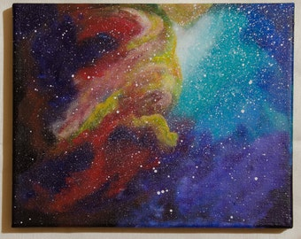 SALE Original Galaxy or Nebula Painting 8 x 10 Lit Canvas