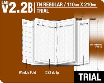 Trial [TN regular v2.2B w DS2 do1p] November to December 2017 - Midori Travelers Notebook Refills Printable Planner.