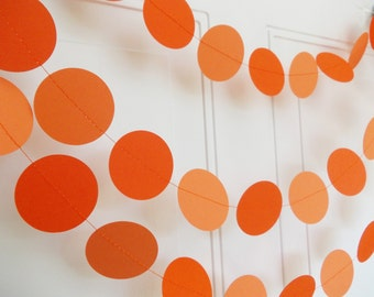 Paper Garland, Orange Circle Garland, Party Decoration, Birthday Decoration, Baby Shower, 12'