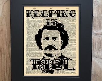 Louis Riel inspired Metis art print on Upcycled vintage Dictionary page #0004
