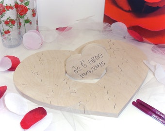 Romantic Heart Shaped Wedding Puzzle Guest Book Custom Personalized Guestbook Alternative 20-120 pc. Unfinished Wooden Puzzle