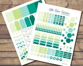 Lime and Teal Sticker Essentials Kit PDF and JPG PRINTABLE Planner Stickers-Instant Download