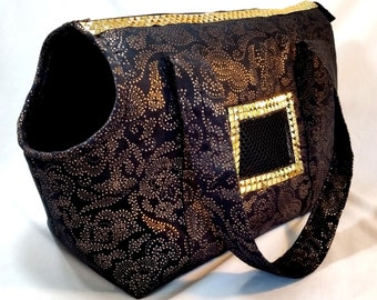 Black and Gold Micro-Suede Dog Carrier, Dog Tote, Small Dog Purse, Handmade Dog Carrier