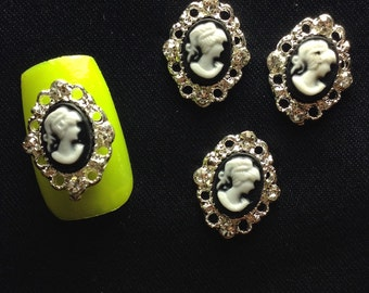 4 Victorian Style Cameo Nail Charms