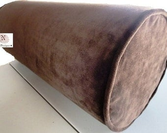Bolster Neck Roll Pillow Cover Chocolate Camel Brown with Piping Finish and Hidden Zipper