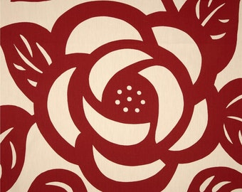 Designer Beautiful Large Red Rose Flower Ivory Duralee Seedlings Thomas Paul Decorative Accent Throw Indoor Pillow Cover with Hidden Zipper