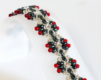 Seed Bead Bracelet in Hematite Gray Twin Beads, Crystal Montees, Red Drop Beads, Silver Seed Beads - Twin Bead Bracelet - Seed Bead Jewelry