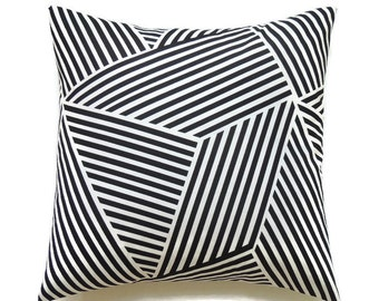 Black Pillow, 18x18 Pillow Cover, Decorative Pillows, Geometric Pillow, Modern Pillow Covers, Nate Berkus Ondine Paramount Onyx