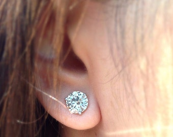 10mm Round Charles and Colvard Forever Brilliant or Forever ONE Moissanite Martini Earrings 8 Carat Total Weight