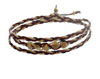 Beaded Triple Wrap Bracelet in Natural