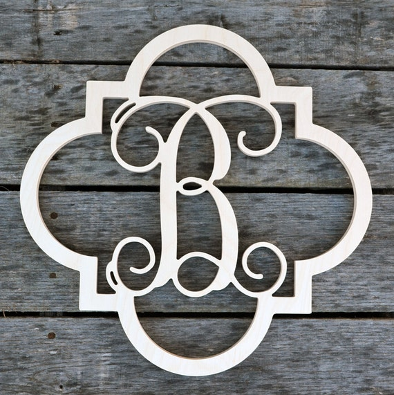 monogram wooden letters quatrefoil monogram unfinished wood letter wooden letters 23687