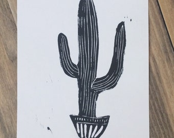 Tall Cactus - 5x7 original linocut print