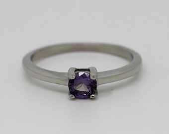 Alexandrite Solitaire engagement ring - in white gold or titanium - wedding ring - gemstone ring