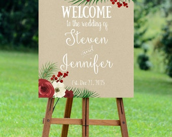 printable wedding sign, christmas wedding sign, digital wedding sign, christmas welcome sign, winter wedding sign, 16x20, you print