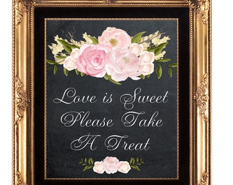 printable candy buffet sign, printable chalkboard wedding sign, love is sweet sign, take a treat sign, digital download wedding sign,  8x10