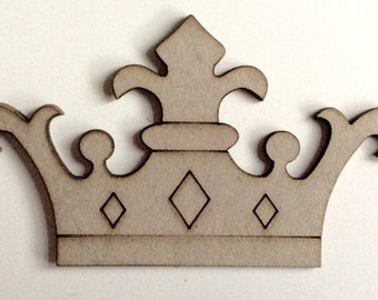 Bare Chipboard King/Queen Large Fleur de lis crown, laser cut - Great for scrapbooking, mixed media projects, cards, journals