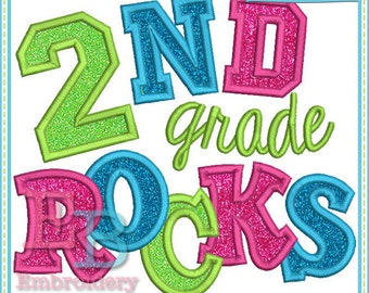 Second Grade Rocks Applique - This design is to be used on an embroidery machine. Instant Download