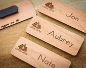 Custom Name Badges, Engraved Name Tag with Logo, Custom Logo, Engraved Name Badge, Magnetic Name Tag, Personalized Name Tags, Wood Name Tags