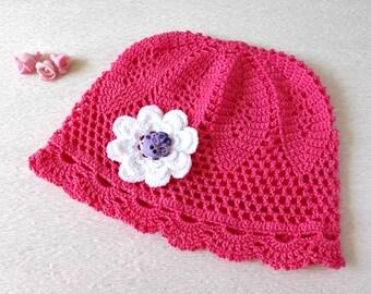 Crocheted sun hat with butterfly. Handmade pink summer hat. Beach hat, light beanie.