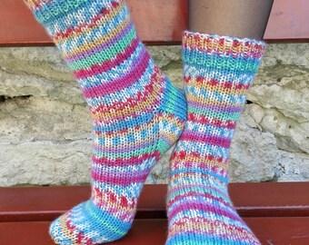 Colourful knitted wool socks. Warm socks. Women socks.
