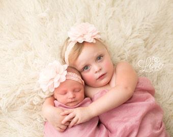 Peach Flower Headband, Peach Headband, Flower Headband, Baby Girl Headband, Baby Headband, Photo Prop, Mae Headband, Sister Set
