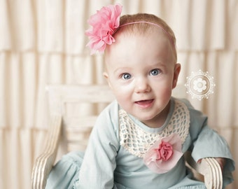 Pink Flower Headband, Pink Headband, Flower Headband, Baby Girl Headband, Baby Headband, Photo Prop, Mae Headband, Sister Set