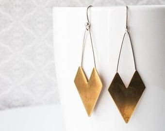 Chevron Dangle Earrings - Long Earrings - Brass and Sterling Silver Hook Earrings - Boho earrings