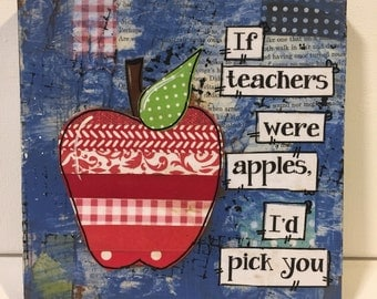 Teacher Gift | Mixed Media Apple