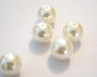 "BULK! 20pc ""off-white"" imitation pearl spacer beads (BC748)"