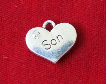 """5pc """"son"""" charms in antique silver style (BC762)"""