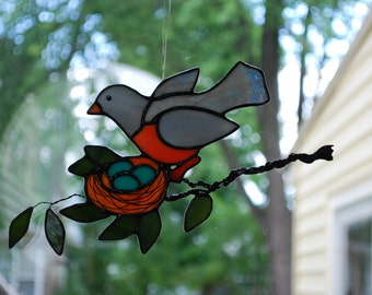 Mama Robin with Nest of Eggs Stained Glass Suncatcher