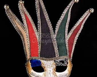 Jester Men Face Mask Musical Venetian Mardi Gras Masquerade Mask