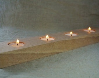 Ash wood candle holder