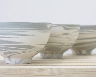 Marble gray and white Ceramic bowl with clear glossy glaze. great for desserts.urban design,modern design, ceramic design