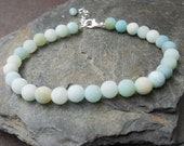 Pale blue frosted Amazonite bracelet - Sterling silver and blue-green (aqua) 6 mm amazonite beads, 6.5 to 7.5 inches (JK019)
