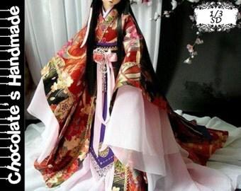 BJD Pattern SD 1/3 Chinese traditional Japanese Kimono dress full set E-Pattern