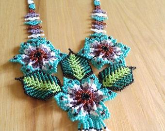 Huichol Beaded Chaquira Necklaces -  3 Flowers - Romea Accessories - Jewelry - Huichol Art - Handmade