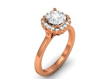 10K Rose Gold Cushion-Cut Diamond Engagement Ring 0.75ct. tw