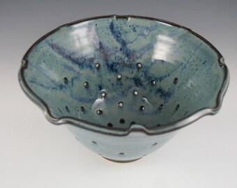 Colander, Pottery Colander, Ceramic Colander, Fruit Bowl, Berry Bowl, Strainer, Handmade, Stoneware, Blue