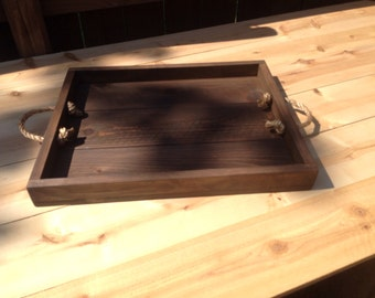 Ottoman Tray, Rustic Wood Serving Tray, Serving Tray, Dining Tray