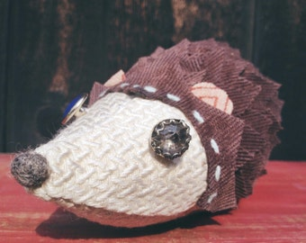 Stuffed Hedgehog Plush, HARPER, Handmade Whimsical Soft Sculpture Hedgehog, Hedgehog Doll