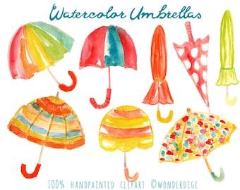 Watercolor Clipart - Umbrella Clipart -  Seasonal Clipart - Watercolor Clip Art Illustration