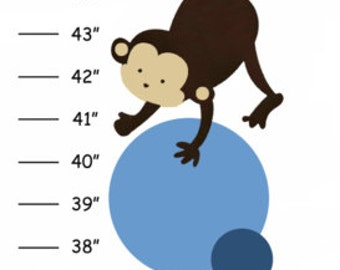 Personalized Blue & Gray Polka Dot Pop Monkey Canvas Growth Chart