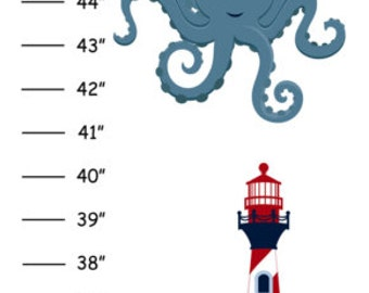 ON SALE Personalized Nautical Octopus Canvas Growth Chart