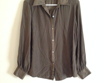 Brown silky retro blouse